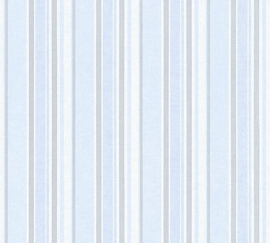 Kids Wallpaper stripes striped light blue silver gloss 35849-3