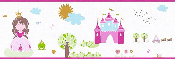 Kids Wallpaper Border princess castle white pink gloss 35853-2