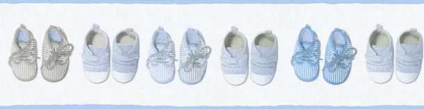 Kids Wallpaper Border kids shoes white light blue 35864-2