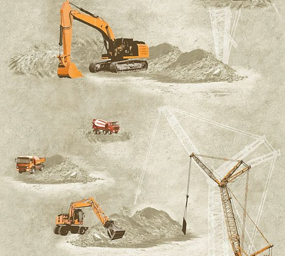 Kids Wallpaper truck loader crane beige orange 35870-1 online kaufen