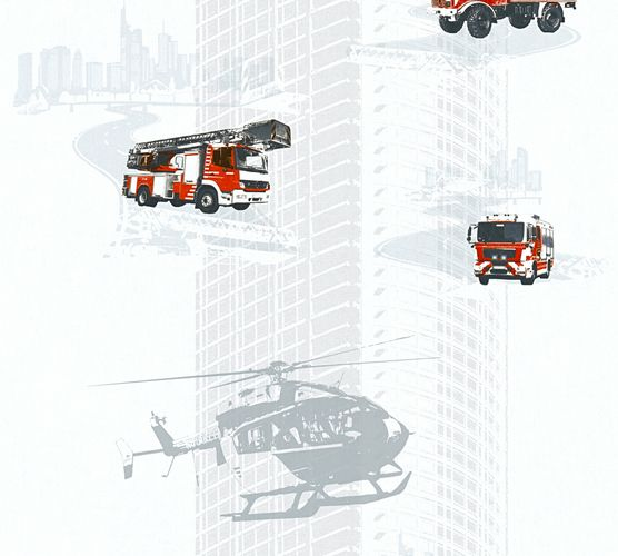 Kids Wallpaper Firetruck helicopter white red gloss 35813-1