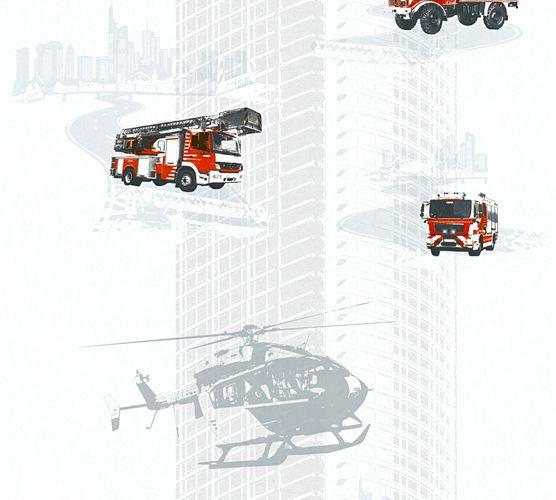 Kindertapete Feuerwehr Helikopter weiß rot Glanz 35813-1