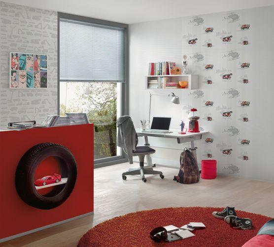 Kids Wallpaper Firetruck helicopter white red gloss 35813-1 online kaufen