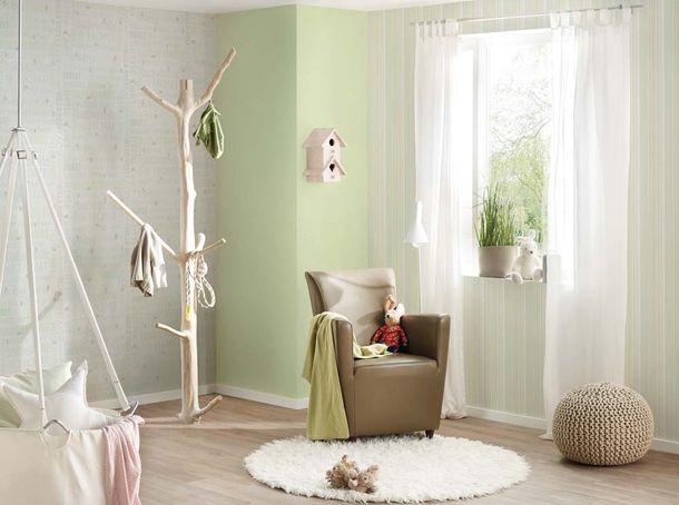 Kids Wallpaper Plain Textile Look light green 35834-3 online kaufen
