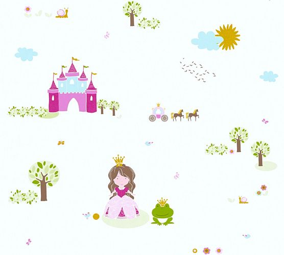 Kids Wallpaper princess castle white pink gloss 35852-2