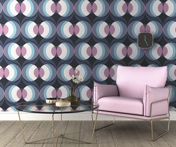 Non-woven Wallpaper Rasch retro circle black purple 804737 online kaufen