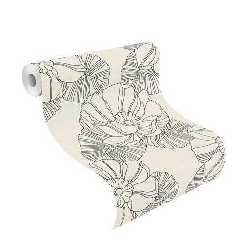 Non-woven Wallpaper Rasch retro flower white black gloss 804904 online kaufen