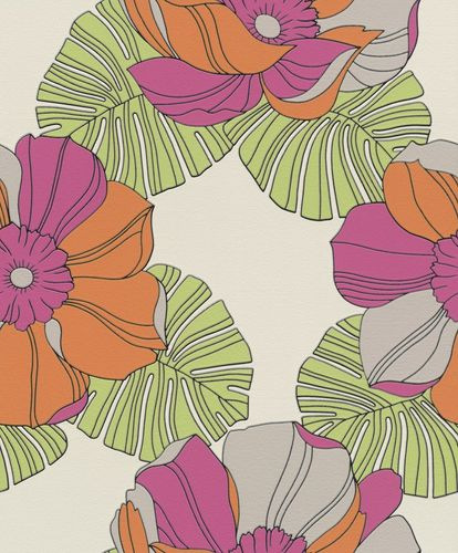 Non-woven Wallpaper Rasch retro flower colourful gloss 804911 online kaufen