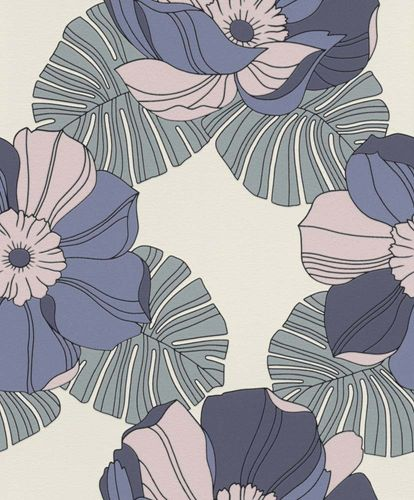 Non-woven Wallpaper Rasch retro flower blue rose gloss 804928 online kaufen