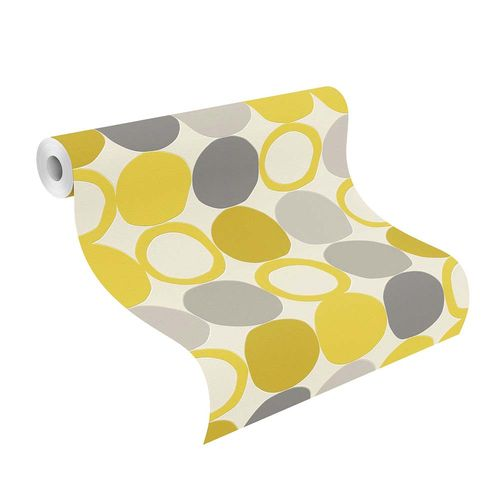 Non-woven Wallpaper Rasch retro dots yellow grey 805116 online kaufen