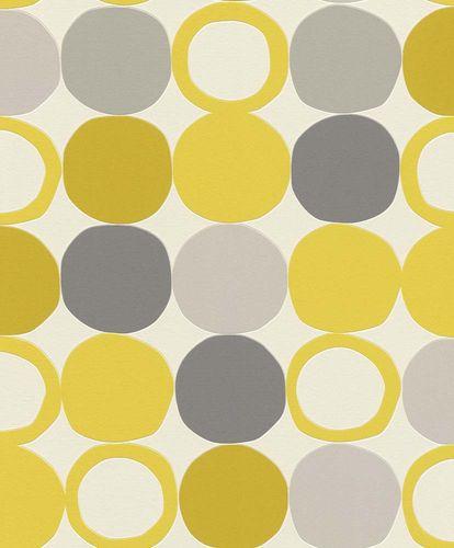 Vliestapete Rasch Retro Punkte gelb grau 805116