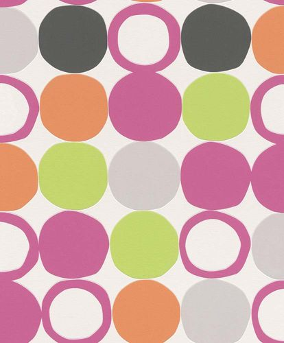 Non-woven Wallpaper Rasch retro dots white pink 805123