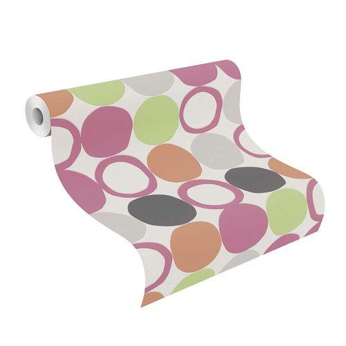 Non-woven Wallpaper Rasch retro dots white pink 805123 online kaufen