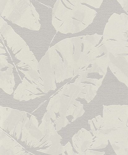 Non-woven Wallpaper Rasch tropical leaf white grey 805215 online kaufen