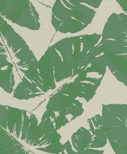 Non-woven Wallpaper Rasch tropical leaf grey green 805222 online kaufen