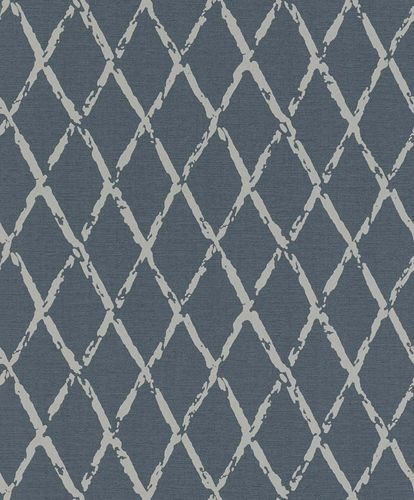 Non-woven Wallpaper Rasch vintage diamond blue grey 805437