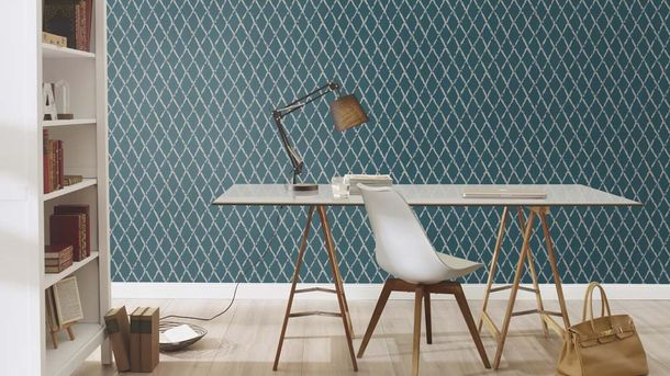 Non-woven Wallpaper Rasch vintage diamond blue grey 805437 online kaufen