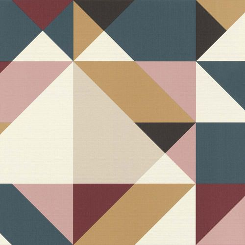 Non-woven Wallpaper Rasch 3D graphic triangle colourful 937206