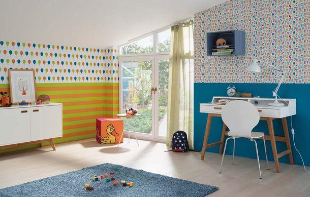 Kids Wallpaper Die Maus stripes orange green 05215-30 online kaufen
