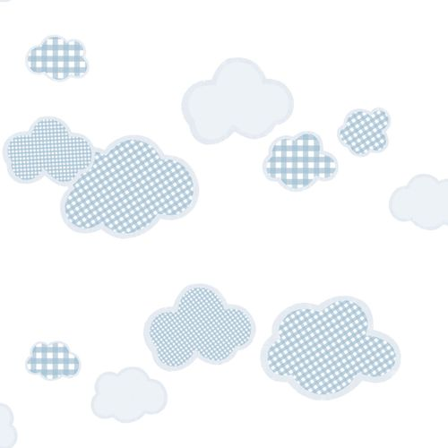 Kindertapete Wolken Karos hellblau World Wide Walls 303266