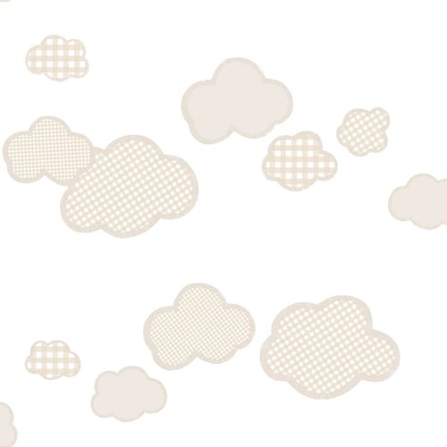Kindertapete Wolken Karos beige World Wide Walls 303267