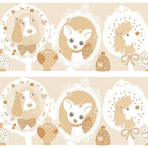 Wallpaper border dogs doggy beige gloss 303280 online kaufen