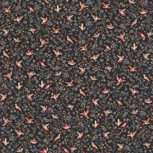 Wallpaper Rasch Textil birds flower black red 288666 online kaufen