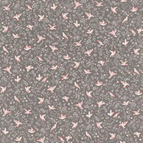 Wallpaper Rasch Textil birds flower brown rose 288901