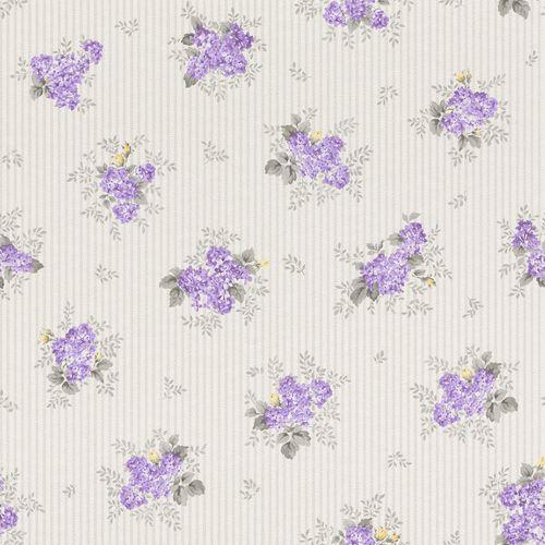 Wallpaper Rasch Textil stripes flower purple silver gloss 288932