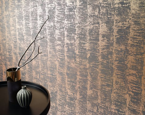 Kretschmer Deluxe Wallpaper striped coppery grey metallic 41001-40 online kaufen
