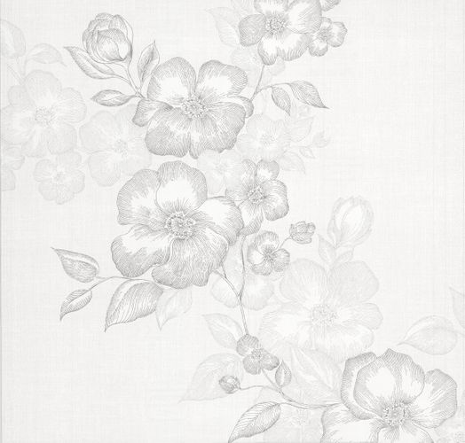 Kretschmer Deluxe Wallpaper flower white grey metallic 41002-10