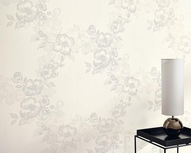 Kretschmer Deluxe Wallpaper flower white grey metallic 41002-10 online kaufen