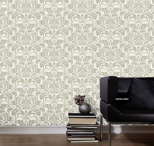 Kretschmer Deluxe Wallpaper damask glass beads white silver 41005-10 online kaufen