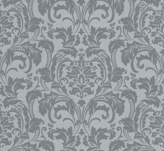 Kretschmer Deluxe Wallpaper damask glass beads silver grey 41005-20