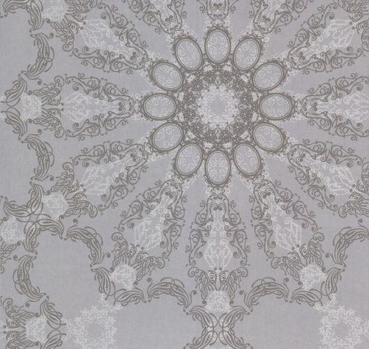 Kretschmer deluxe tapete mandala silber grau glitzer 41007 20 for Tapete glitzer grau