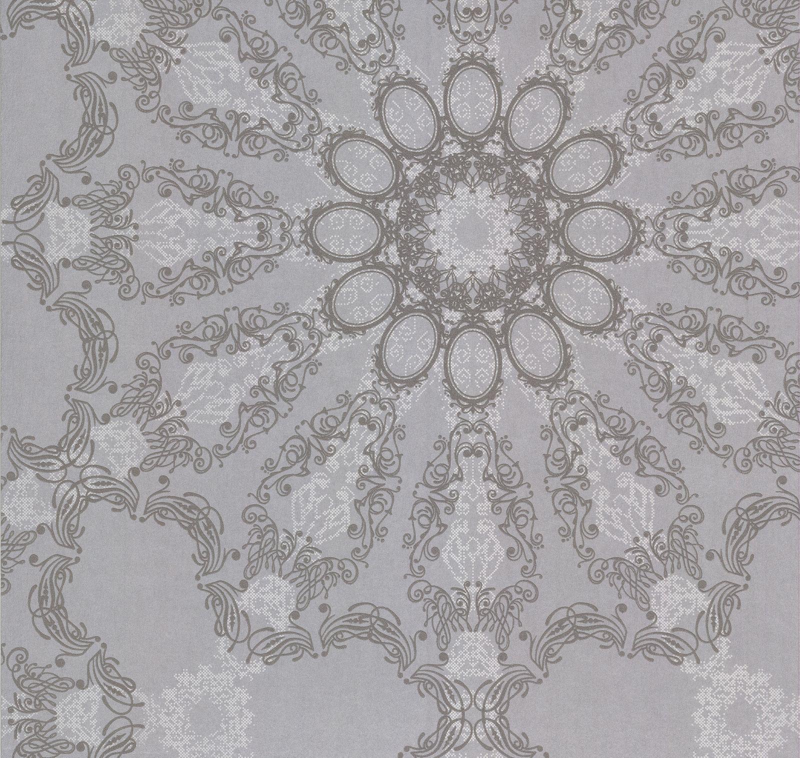 Kretschmer Tapete Mandala Silber Grau Glitzer 41007-20