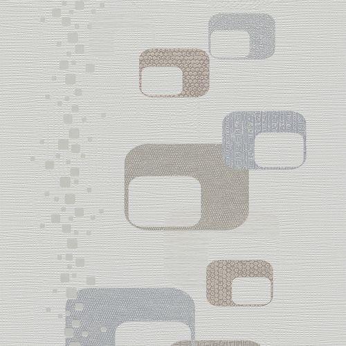 Wallpaper retro white grey gloss P+S Novara 13586-20