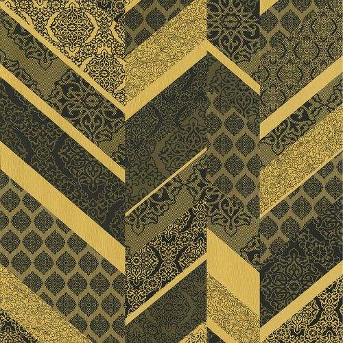 Wallpaper stripes ornament gold black metallic P+S 02534-10 online kaufen