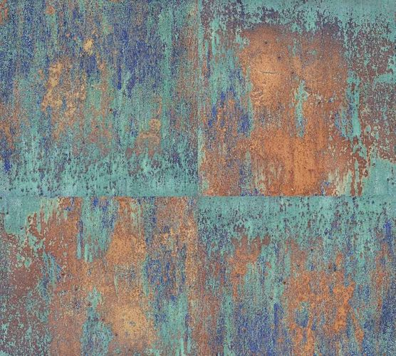 Wallpaper metal patina turquoise rusty brown 36118-1