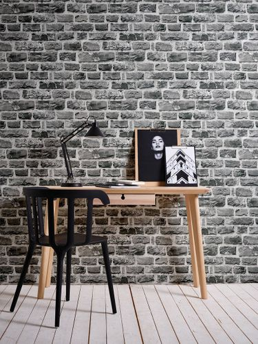 Wallpaper Neue Bude 2.0 stone bricks wall black 36140-4 online kaufen