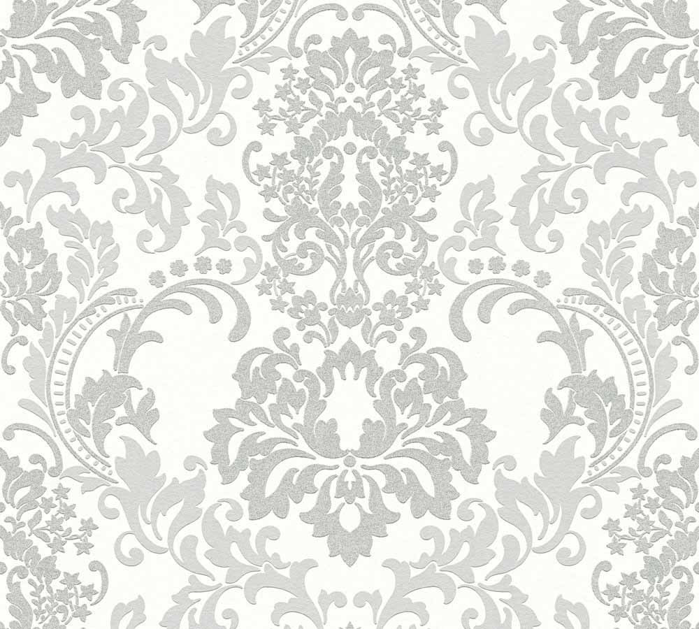 wallpaper neue bude 2 0 baroque white grey 36166 4. Black Bedroom Furniture Sets. Home Design Ideas
