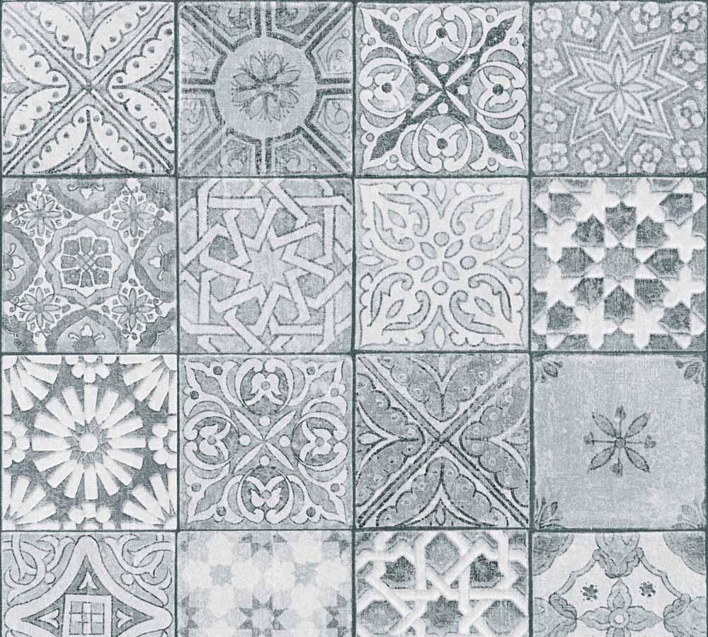 Vliestapete Neue Bude 2.0 Mosaik Fliesen Optik Grau Weiß 36205 3 001