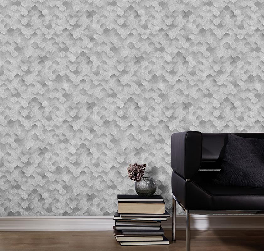 vliestapete 3d waben optik grau wei p s 42512 30. Black Bedroom Furniture Sets. Home Design Ideas