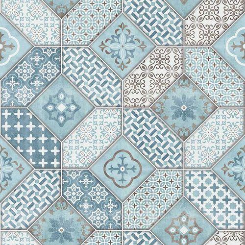 Wallpaper Bohemian tiles blue white Erismann 6315-08 online kaufen