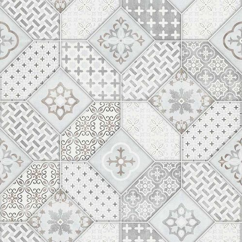 Wallpaper Bohemian tiles light grey white Erismann 6315-10