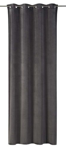 Eyelet Curtain plain design grey non-transparent Odeon 199036