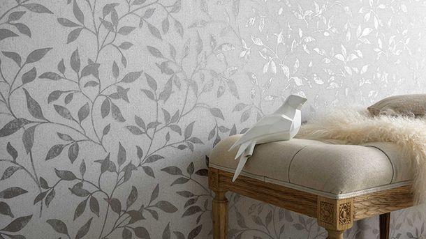 Vliestapete Blätter grau silber Erismann Vintage 6333-10 online kaufen