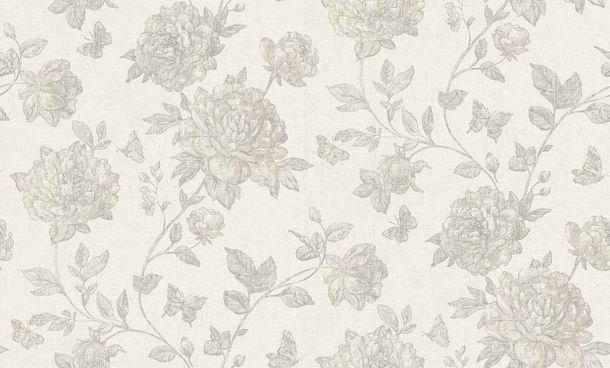 Vliestapete Blumen grauweiß silbergrau Vintage 6335-31