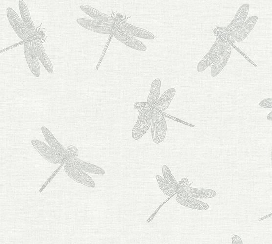 Wallpaper dragonfly white grey silver AS Creation 35897-1