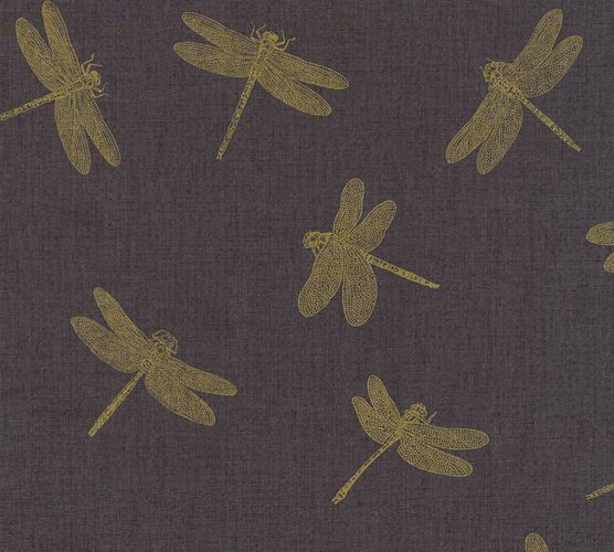 Wallpaper dragonfly anthracite gold AS Creation 35897-3